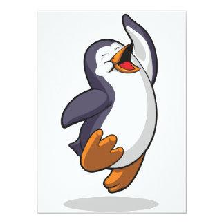 """El pingüino que salta en el entusiasmo invitación 5.5"""" x 7.5"""""""