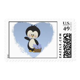 El pingüino sonríe los sellos de los ramos de la p