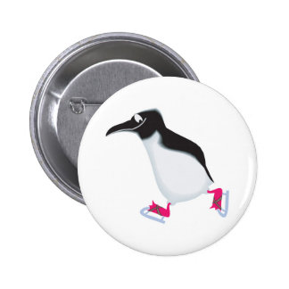 el pingüino torpe encendido iceskates pin redondo 5 cm