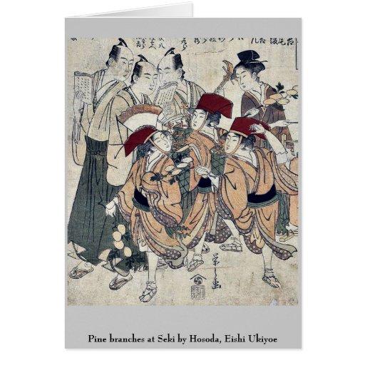 El pino ramifica en Seki por Hosoda, Eishi Ukiyoe Tarjeta