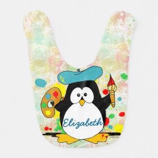El pintor artístico del pingüino personaliza babero para bebé