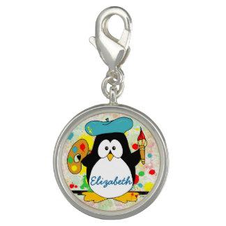 El pintor artístico del pingüino personaliza dijes