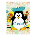 El pintor artístico del pingüino personaliza invitaciones personales