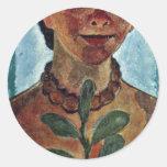 El pintor con la rama de la camelia (uno mismo) etiqueta redonda