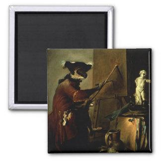 El pintor del mono, 1740 (aceite en lona) imán cuadrado