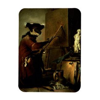 El pintor del mono, 1740 (aceite en lona) imán de vinilo