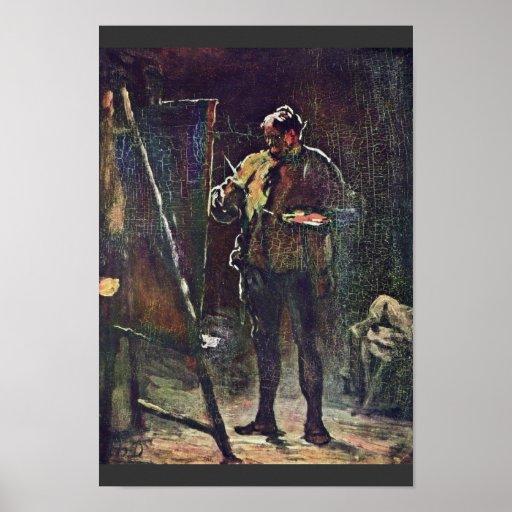 El pintor en el caballete de Daumier Honoré Poster