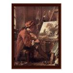 El pintor en su autorretrato del estudio tarjetas postales