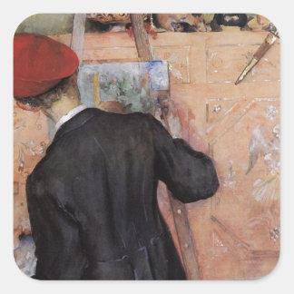 El pintor inmóvil 1896 de la vida pegatina cuadrada