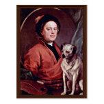 El pintor y su autorretrato del barro amasado por  postal