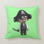 el pirata 3d lleva las gafas de sol (editable) cojin