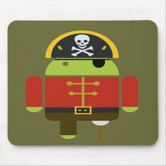 El pirata androide Mousepad Tapetes De Ratón