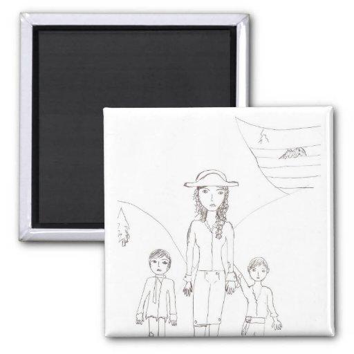 El pirata del chica y su equipo del niño imán para frigorífico