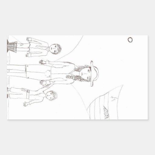 El pirata del chica y su equipo del niño pegatina rectangular