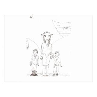 El pirata del chica y su equipo del niño postal