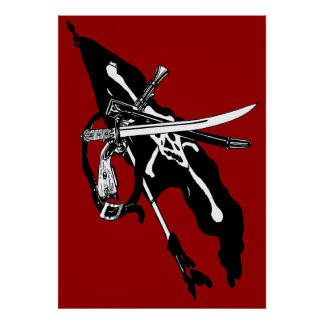 El pirata del vintage arma la bandera y las armas  impresiones