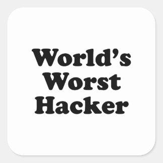 El pirata informático peor del mundo pegatina cuadradas