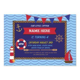 """El pirata náutico de los barcos del marinero de la invitación 5"""" x 7"""""""