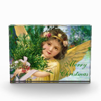 El pisapapeles del ángel del navidad del vintage c