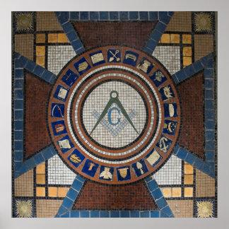 El piso masónico tejó el mosaico póster