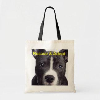 El pitbull, rescate y adopta bolsa tela barata