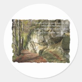 El plan de dios a prosperar usted 29:11 de pegatina redonda