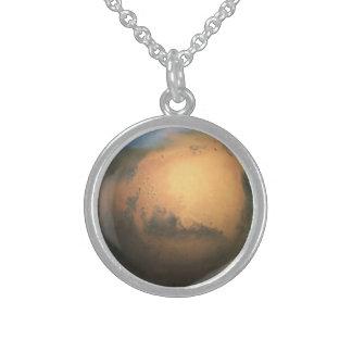 El planeta Marte - efecto 3D Collares De Plata Esterlina