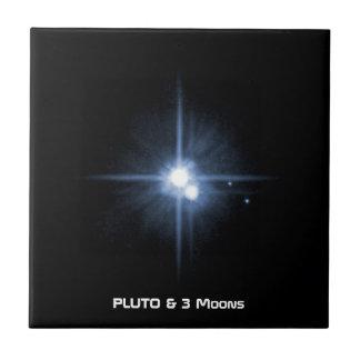 El planeta Plutón y 3 lunas Teja Cerámica