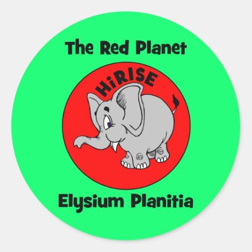 El planeta rojo pegatina redonda