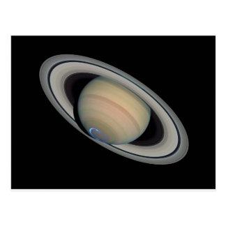 El planeta Saturn con auroras del hemisferio Postal