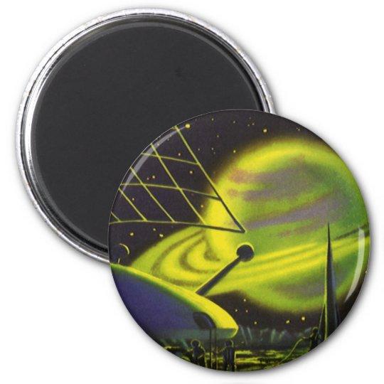 El planeta verde de neón w de la ciencia ficción imán redondo 5 cm