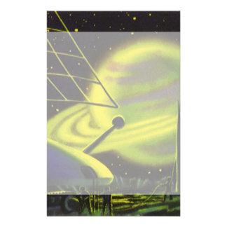 El planeta verde de neón w de la ciencia ficción papelería
