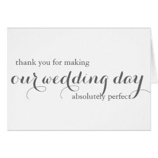 El planificador del boda le agradece cardar tarjeta pequeña