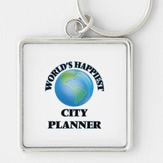 El planificador más feliz de la ciudad del mundo llavero cuadrado plateado
