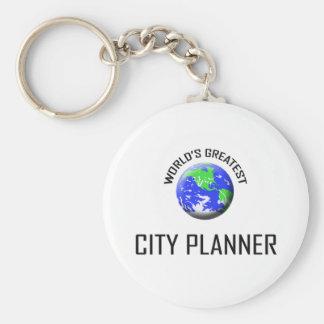 El planificador más grande de la ciudad del mundo llavero redondo tipo pin