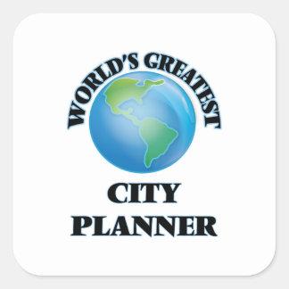 El planificador más grande de la ciudad del mundo pegatina cuadrada