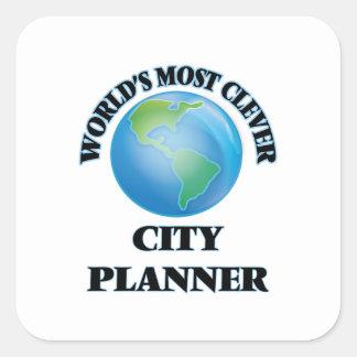 El planificador más listo de la ciudad del mundo pegatina cuadrada