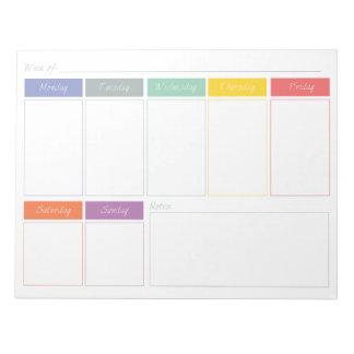 El planificador semanal del arco iris de la primav