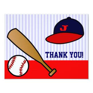 """El plano de encargo lindo del béisbol le agradece invitación 4.25"""" x 5.5"""""""
