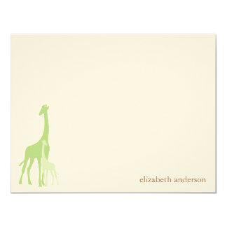 """El plano de la jirafa de la mamá y del bebé le invitación 4.25"""" x 5.5"""""""
