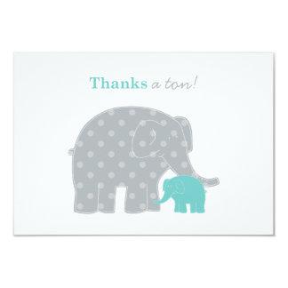 """El plano del elefante le agradece gris azul de la invitación 3.5"""" x 5"""""""