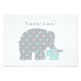 """El plano del elefante le agradece gris azul rosado invitación 3.5"""" x 5"""""""