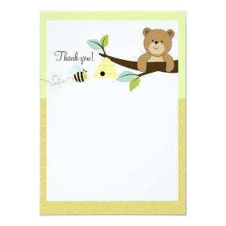 """El plano del oso y de la abeja de miel le agradece invitación 5"""" x 7"""""""