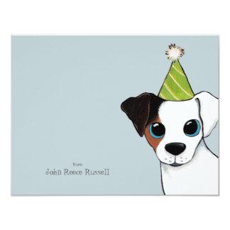 """El plano del perro de Jack Russell del fiesta le Invitación 4.25"""" X 5.5"""""""