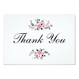 """El plano elegante floral rosado bonito le agradece invitación 3.5"""" x 5"""""""