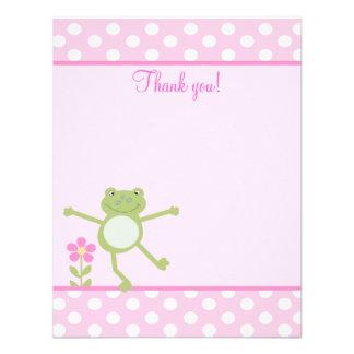 El plano femenino del Froggy de la rana rosada del Invitaciones Personalizada