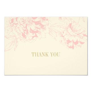 """El plano le agradece carda diseño floral rosado invitación 3.5"""" x 5"""""""