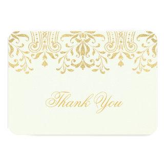 El plano le agradece encanto del vintage del oro invitación 8,9 x 12,7 cm