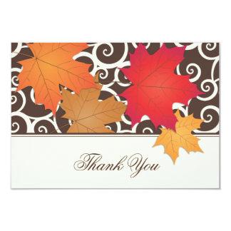"""El plano le agradece tema de las hojas de otoño de invitación 3.5"""" x 5"""""""
