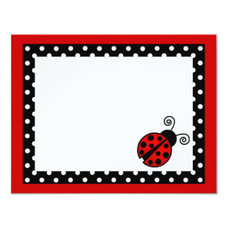"""El plano rojo lindo de la mariquita le agradece invitación 4.25"""" x 5.5"""""""